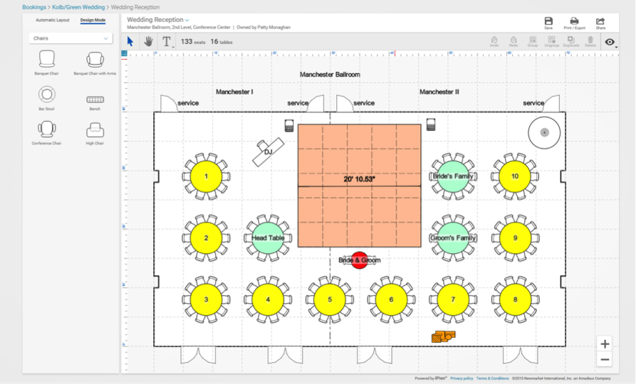 iPlan Catering Banquet Room Diagramming