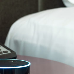 Alexa Voice Control Next to Hotel Bed