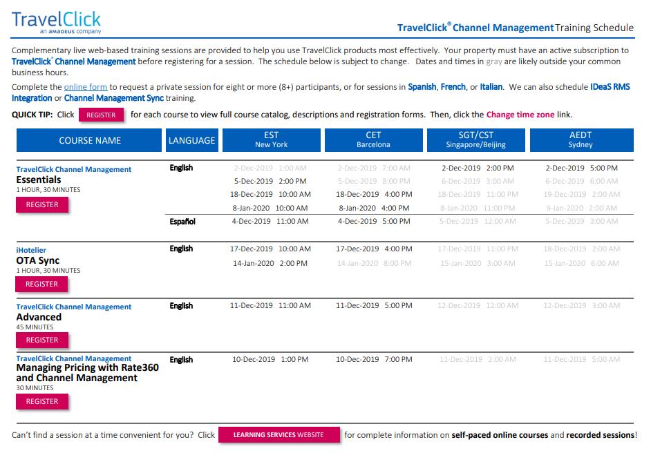 Channel Management Training Schedule